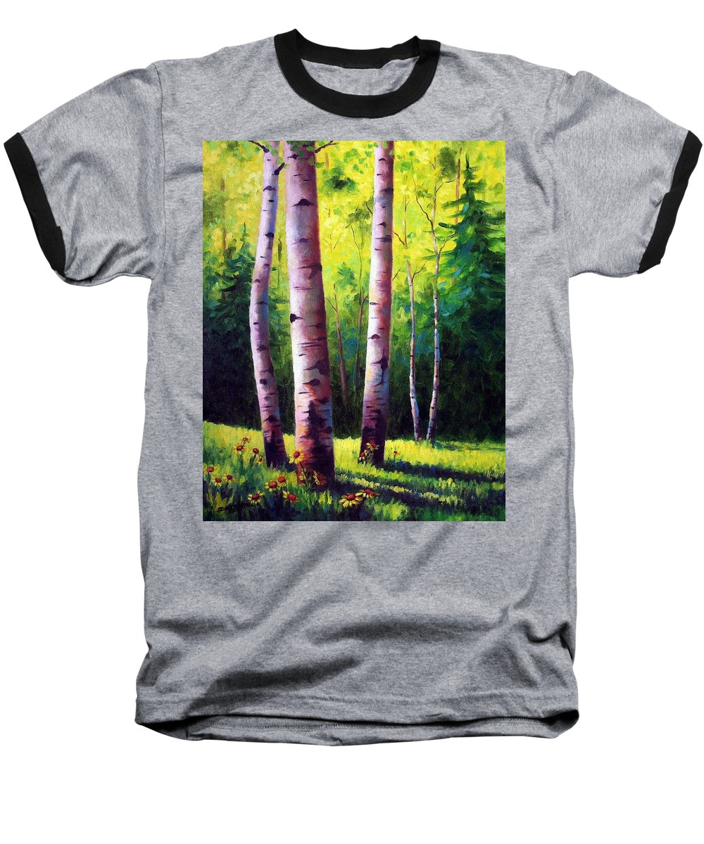 Aspen Baseball T-Shirt featuring the painting The Light Of Spring by David G Paul