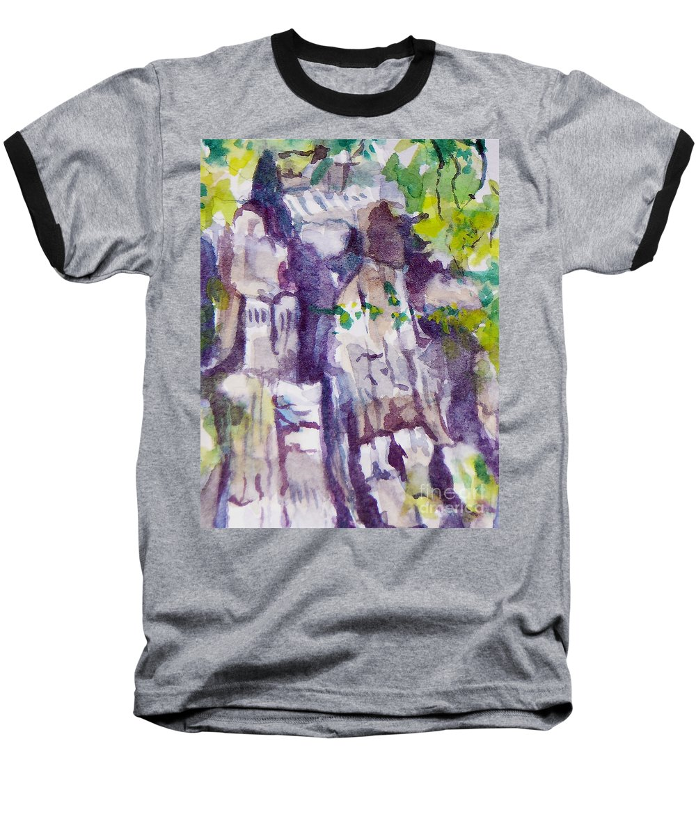 Purple Baseball T-Shirt featuring the painting The Little Climbing Wall by Jan Bennicoff