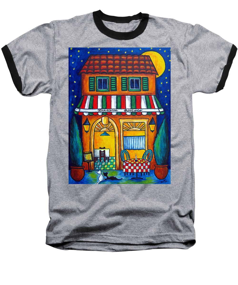Blue Baseball T-Shirt featuring the painting The Little Trattoria by Lisa Lorenz