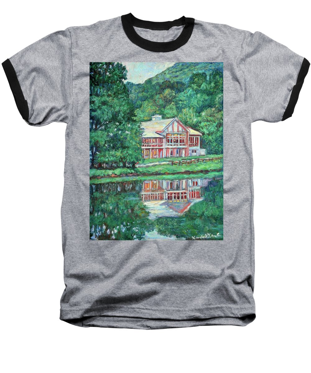 Lodge Paintings Baseball T-Shirt featuring the painting The Lodge At Peaks Of Otter by Kendall Kessler