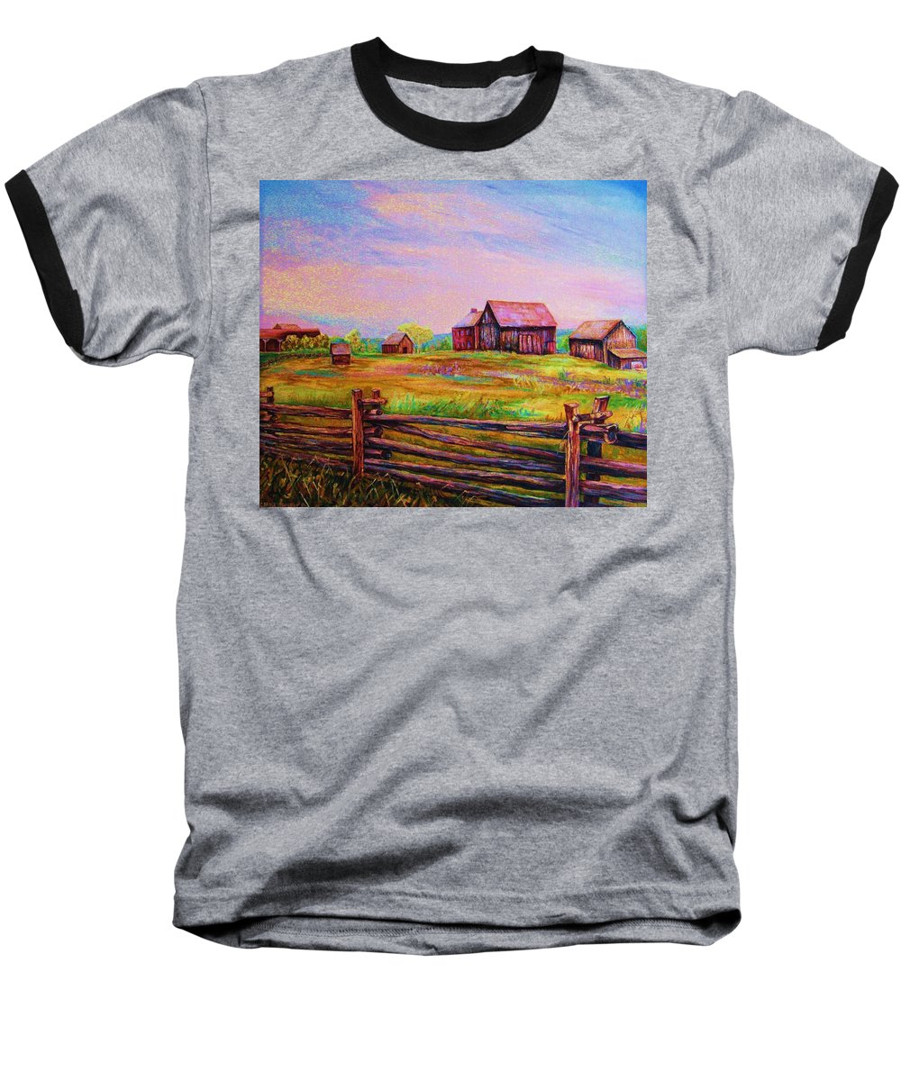 Ranches Baseball T-Shirt featuring the painting The Log Fence by Carole Spandau