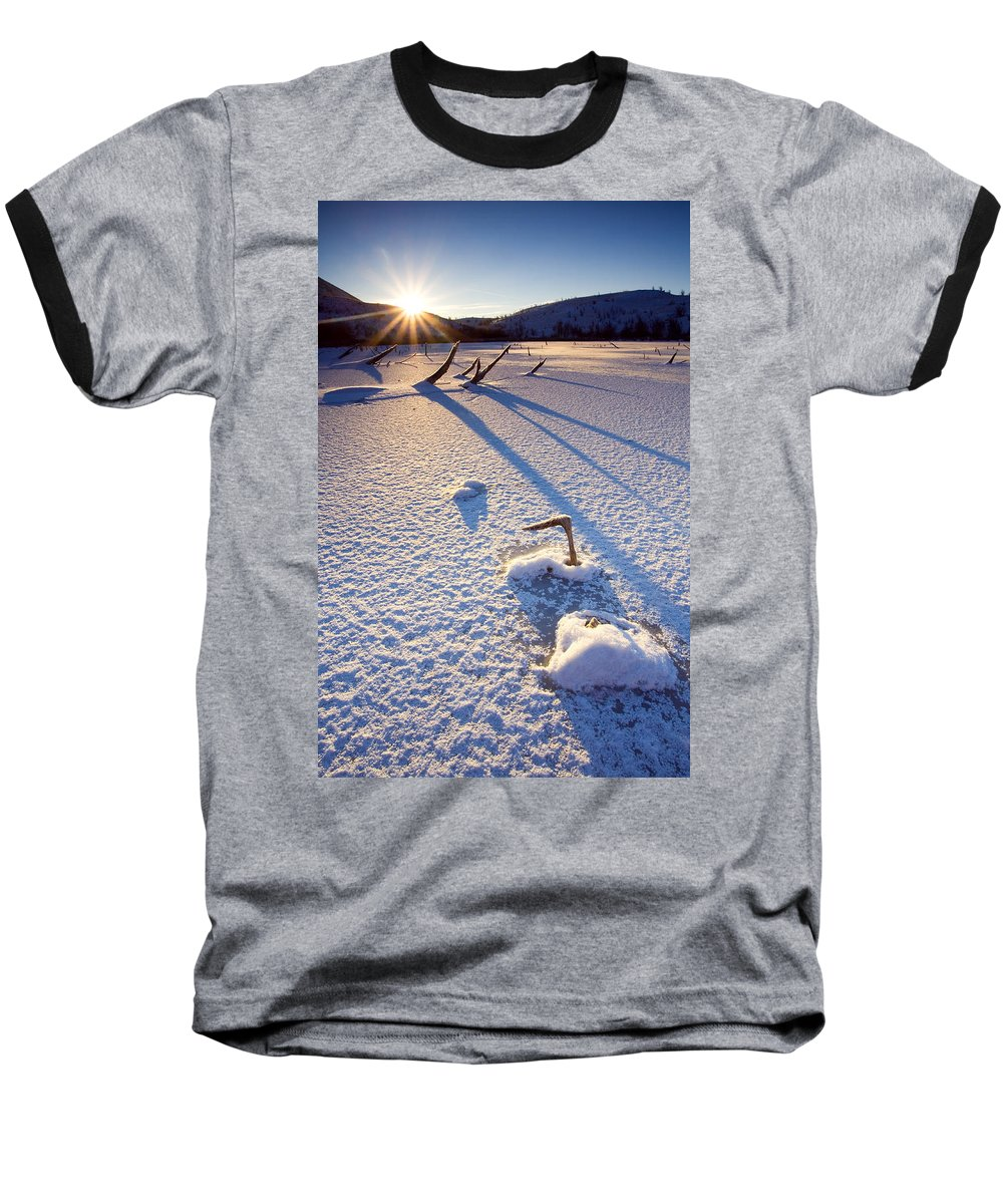Sunrise Baseball T-Shirt featuring the photograph The Long Shadows Of Winter by Mike Dawson