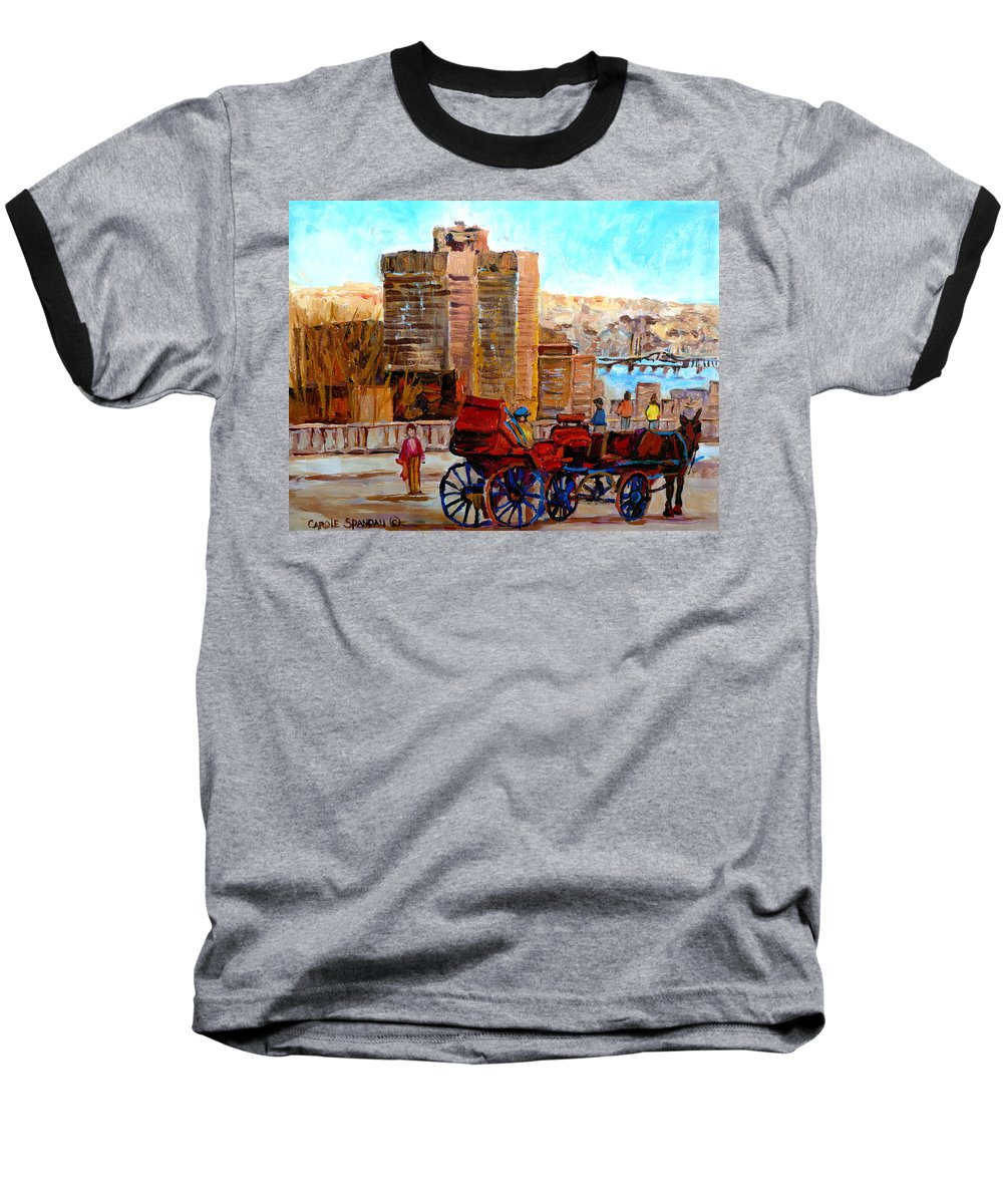Montreal Street Scene Baseball T-Shirt featuring the painting The Lookout On Mount Royal Montreal by Carole Spandau