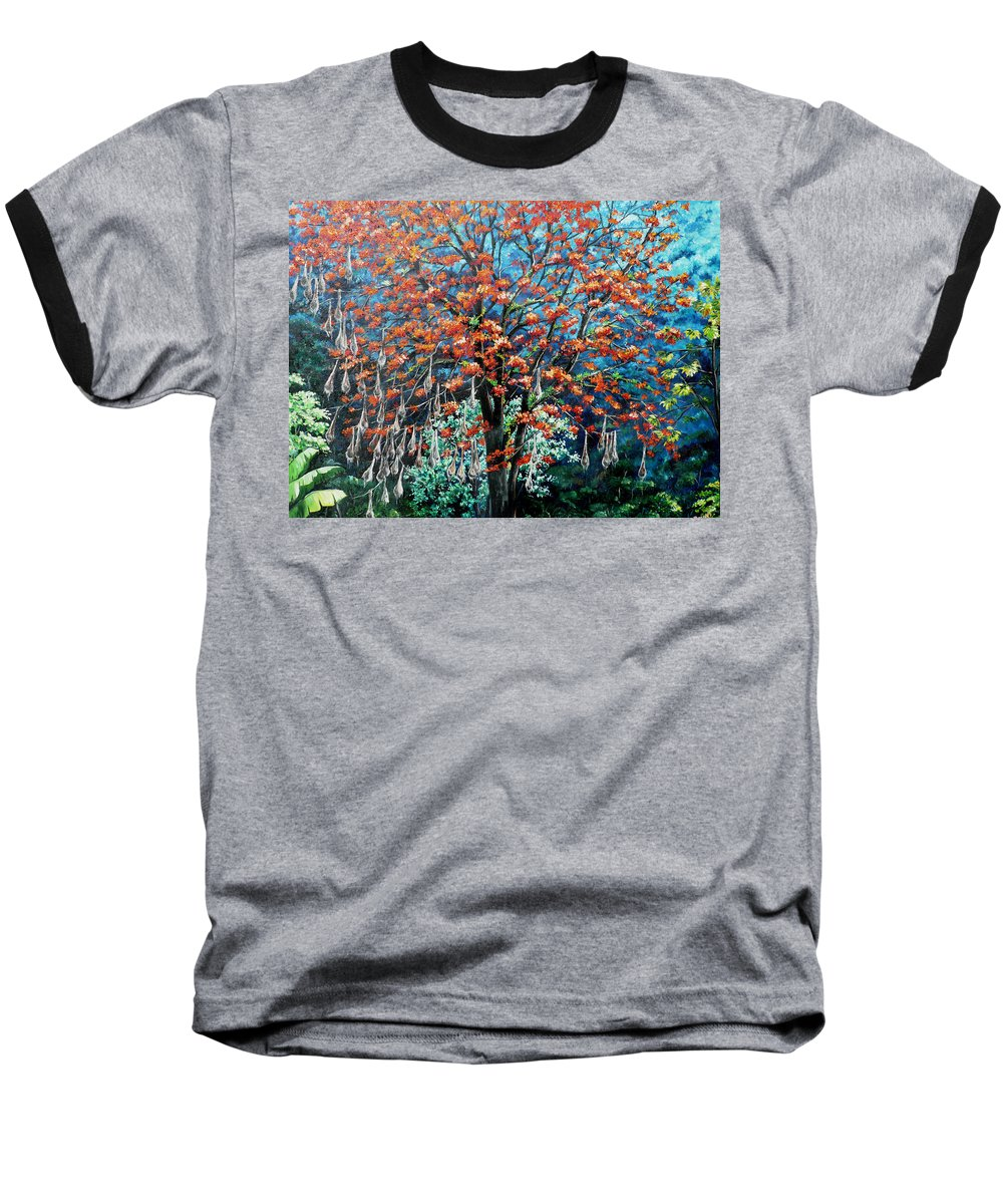 Tree Painting Mountain Painting Floral Painting Caribbean Painting Original Painting Of Immortelle Tree Painting  With Nesting Corn Oropendula Birds Painting In Northern Mountains Of Trinidad And Tobago Painting Baseball T-Shirt featuring the painting The Mighty Immortelle by Karin Dawn Kelshall- Best