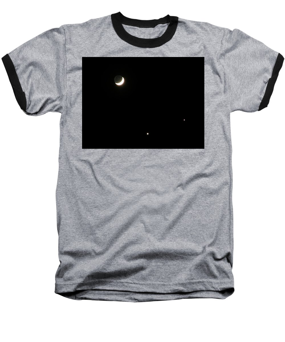 Moon Baseball T-Shirt featuring the photograph The Moon And Stars by Gale Cochran-Smith