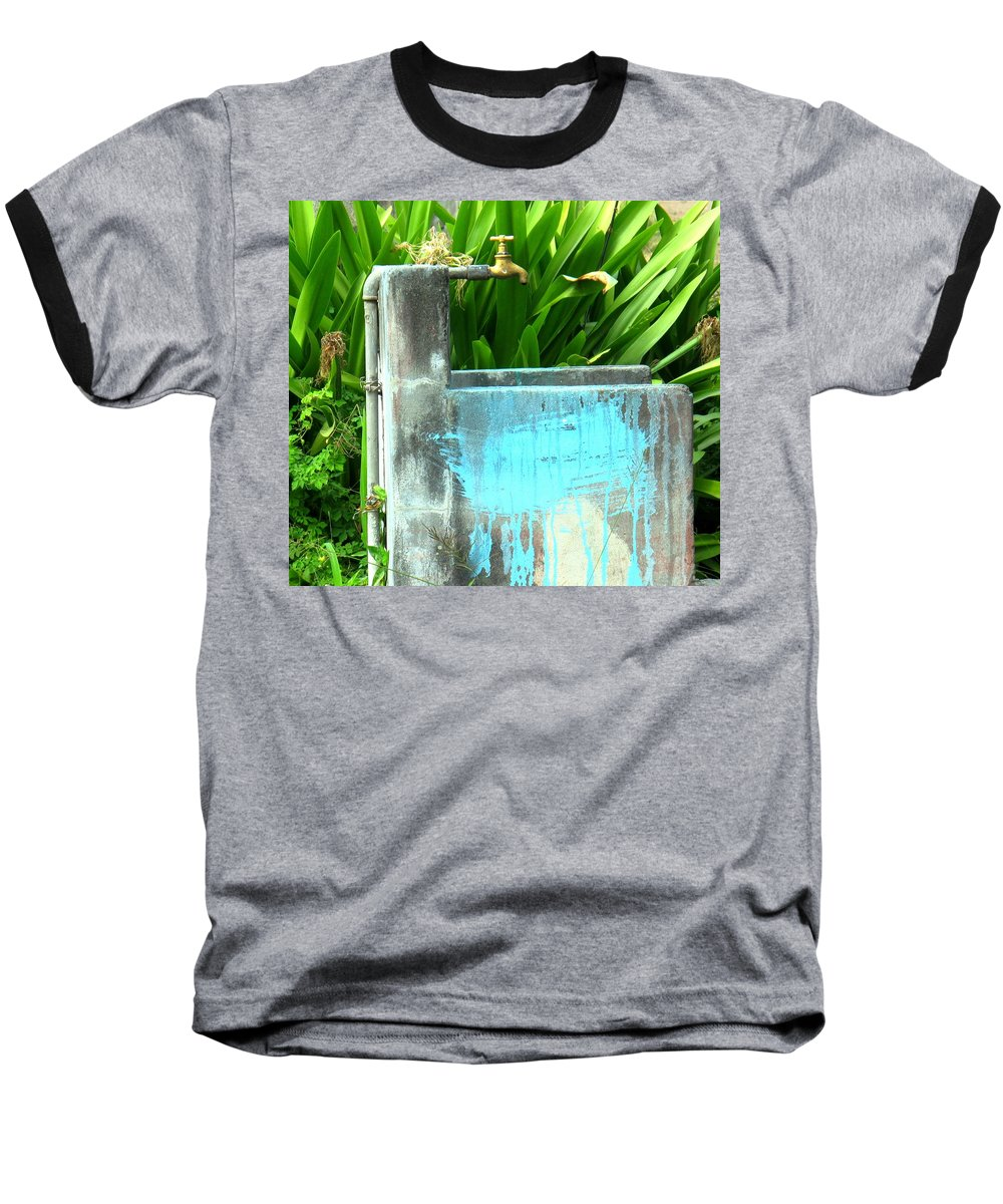 Water Baseball T-Shirt featuring the photograph The Neighborhood Water Pipe by Ian MacDonald