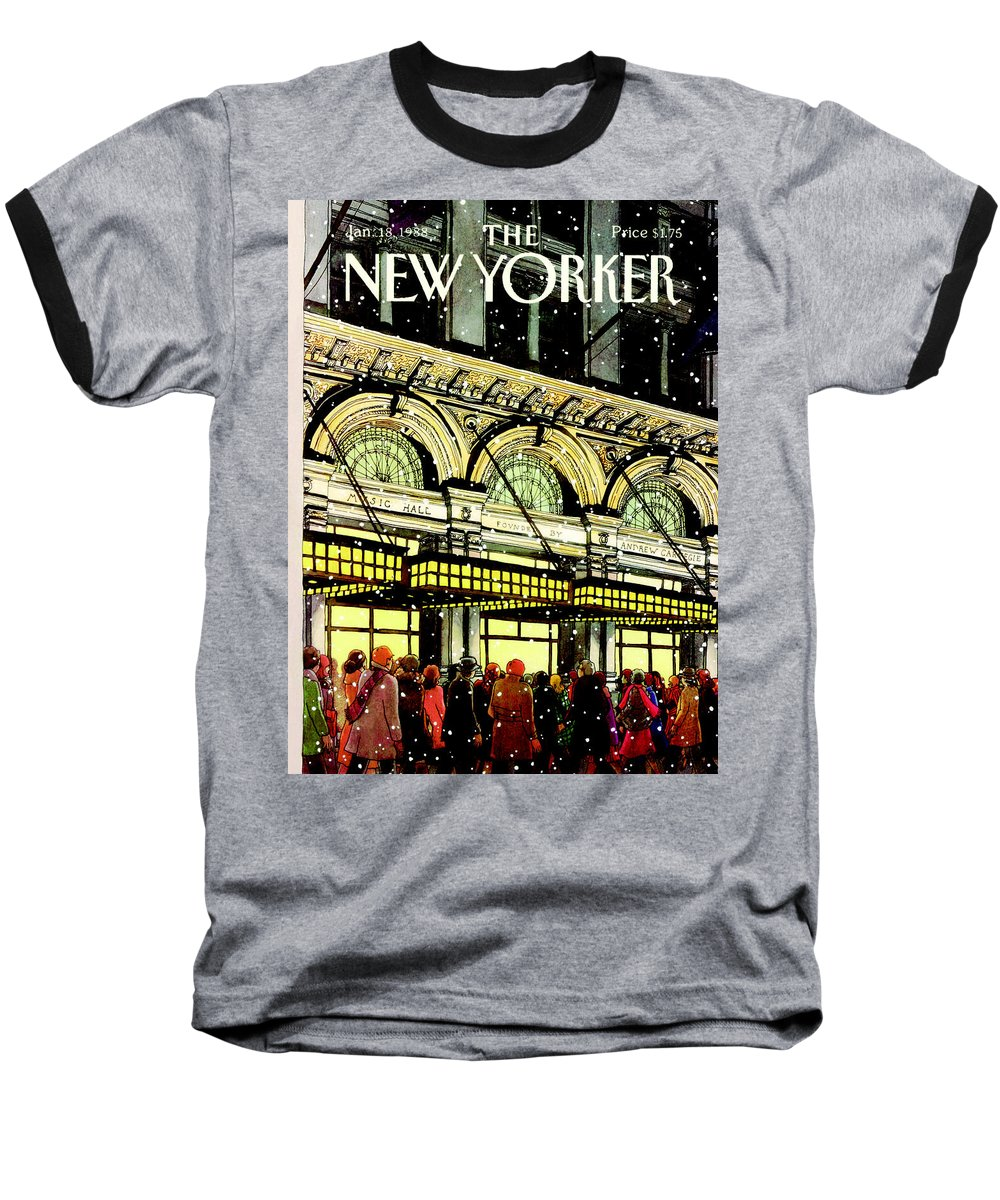 Urban Baseball T-Shirt featuring the painting The New Yorker Cover - January 18th, 1988 by Roxie Munro