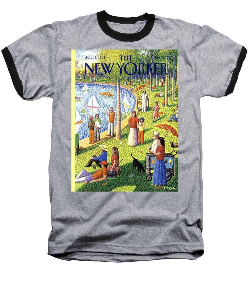 La Grande Jatte Baseball T-Shirt featuring the painting The New Yorker July 15th, 1991 by Bob Knox