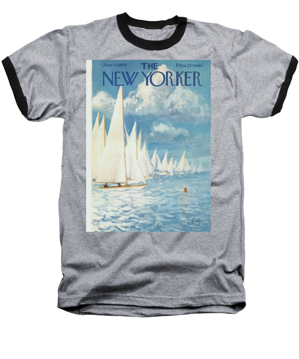Arthur Baseball T-Shirt featuring the painting New Yorker Cover - June 13th, 1959 by Arthur Getz