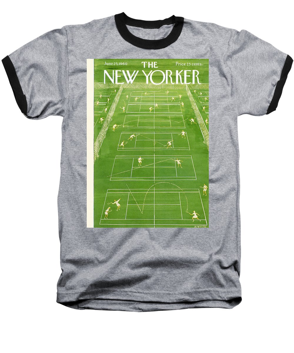 Tennis Baseball T-Shirt featuring the photograph The New Yorker Cover - June 25th, 1960 by Anatol Kovarsky