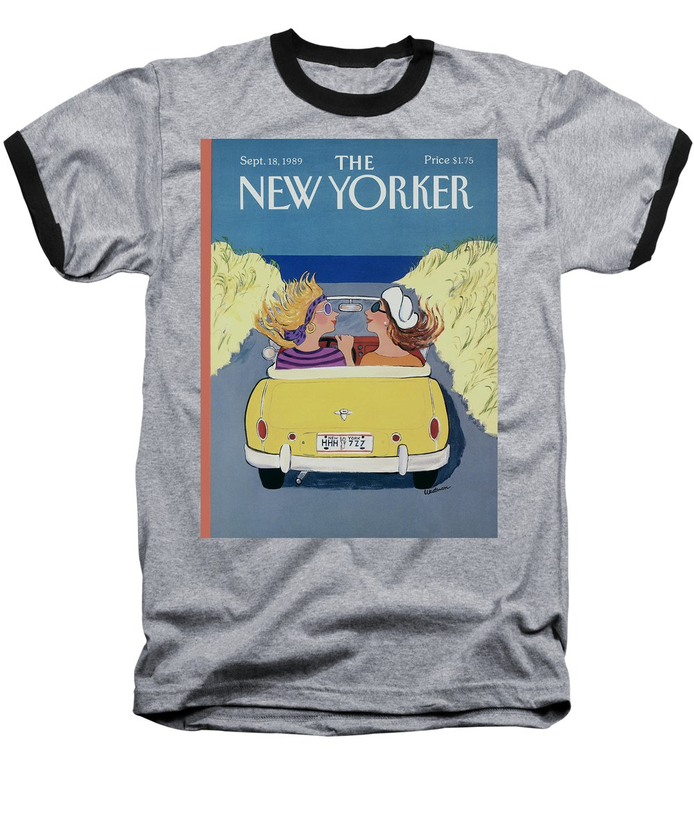 Autos Baseball T-Shirt featuring the photograph The New Yorker Cover - September 18th, 1989 by Barbara Westman