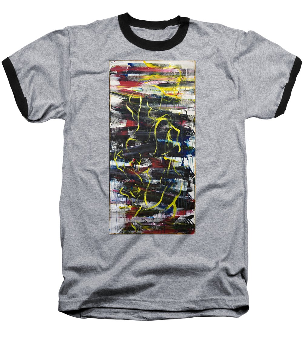 Black Baseball T-Shirt featuring the painting The Noose by Sheridan Furrer