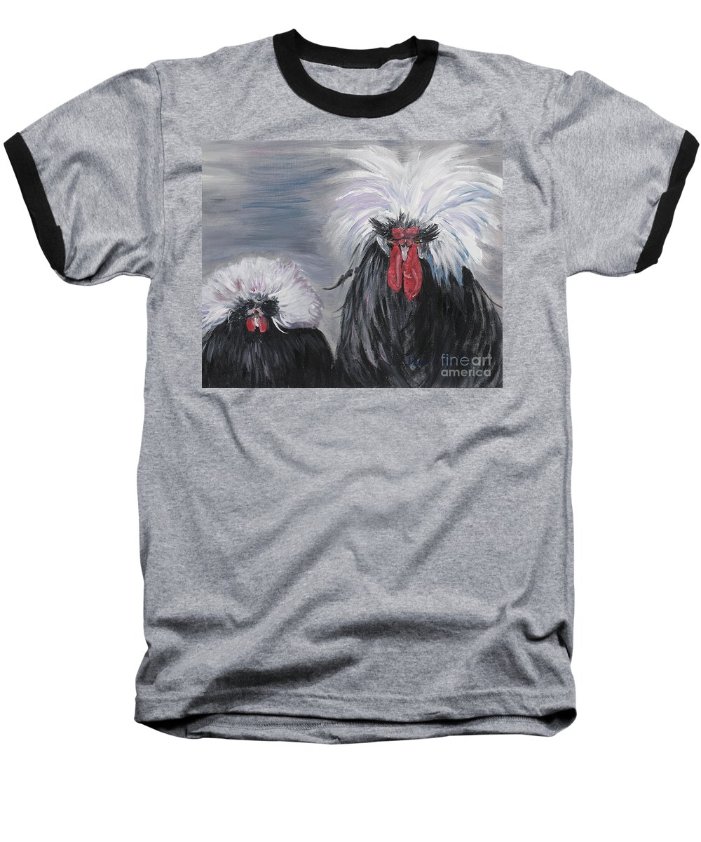 Odd Chickens With Wild Hair Baseball T-Shirt featuring the painting The Odd Couple by Nadine Rippelmeyer