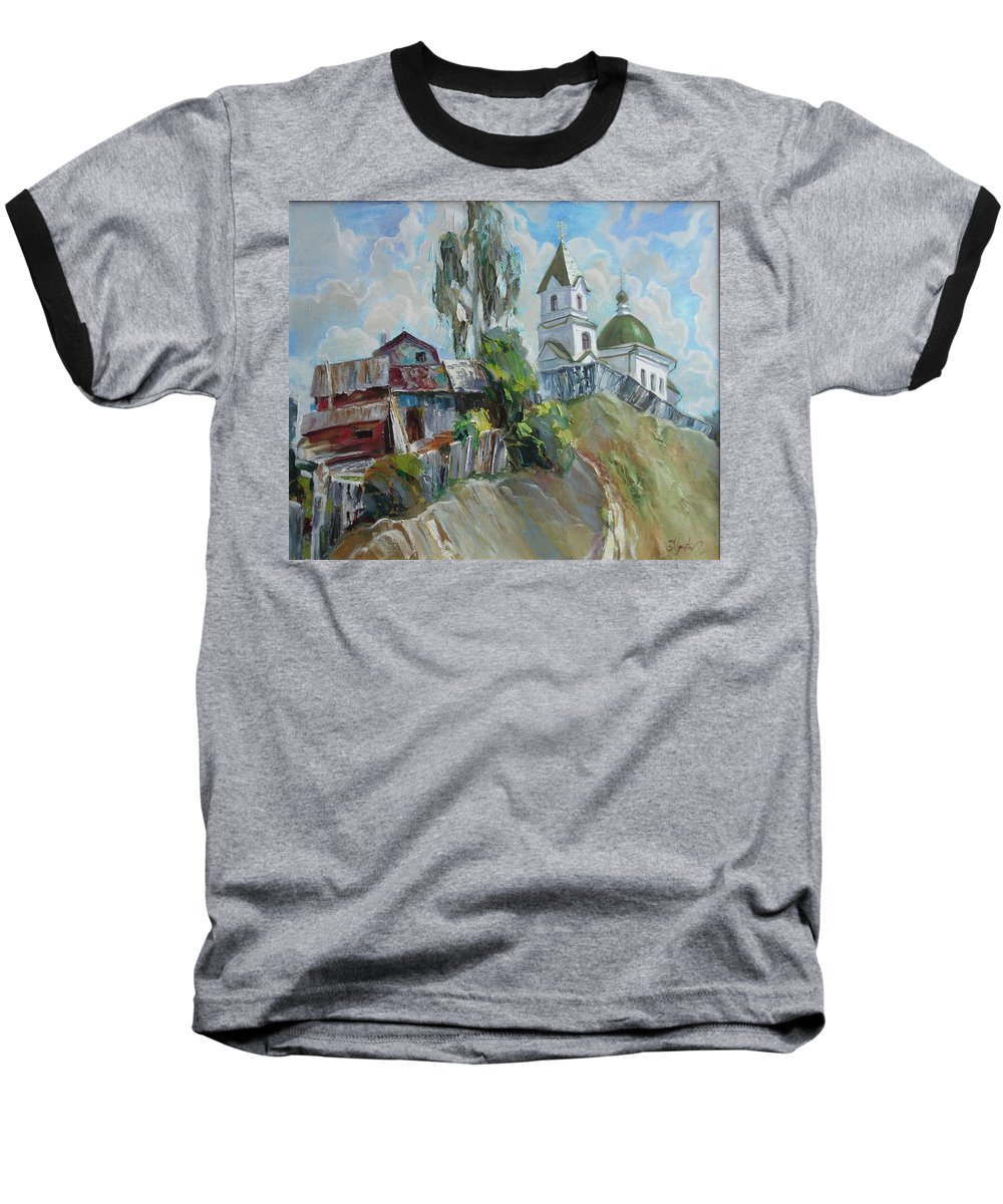 Oil Baseball T-Shirt featuring the painting The Old And New by Sergey Ignatenko