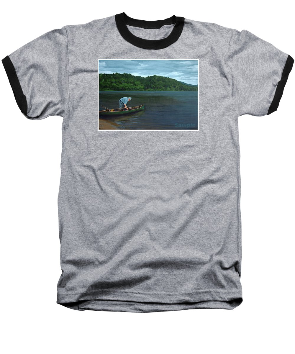 Landscape Baseball T-Shirt featuring the painting The Old Green Canoe by Jan Lyons