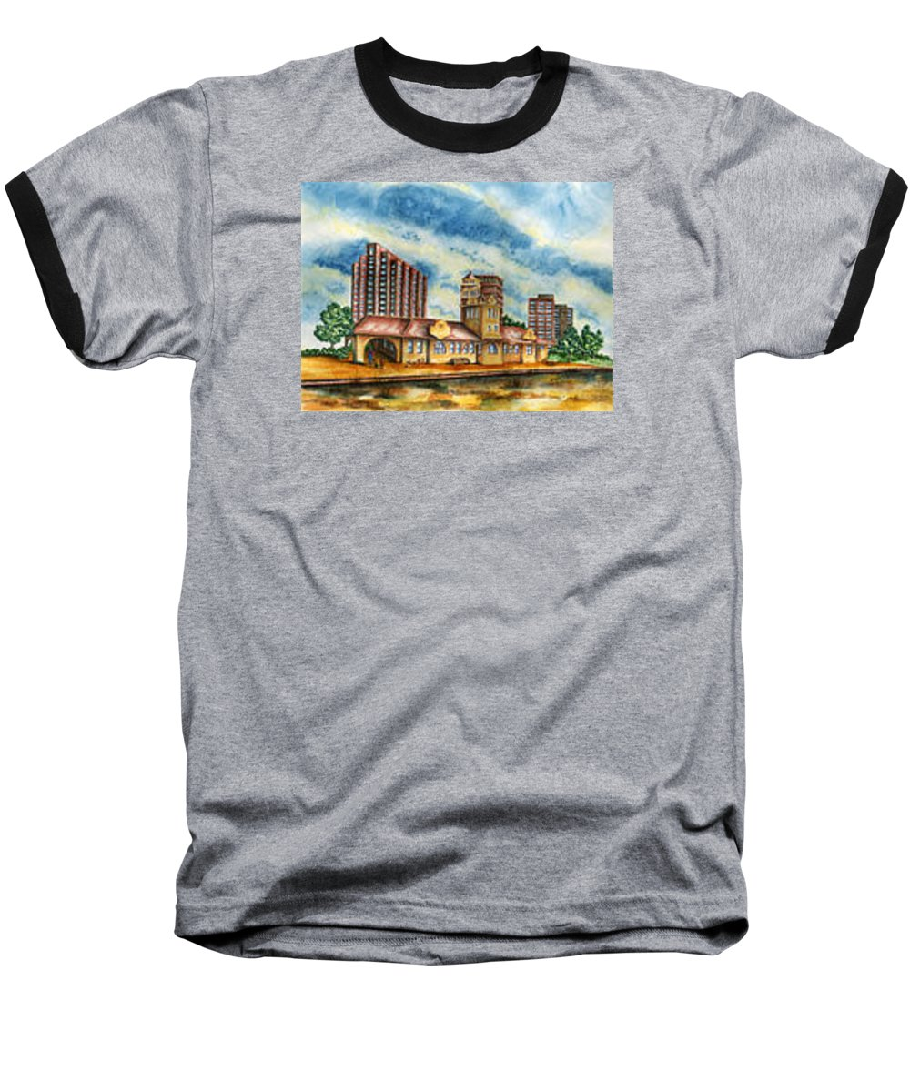 Cityscape Baseball T-Shirt featuring the painting The Old Train Station  by Ragon Steele