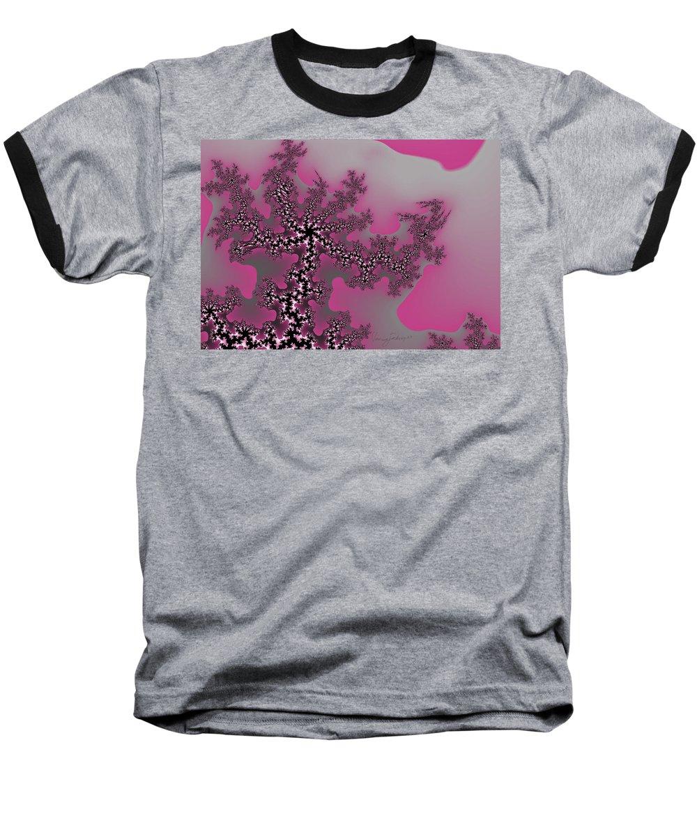 Fractals Tree Nature Oriental Art Baseball T-Shirt featuring the digital art The Oriental Tree by Veronica Jackson