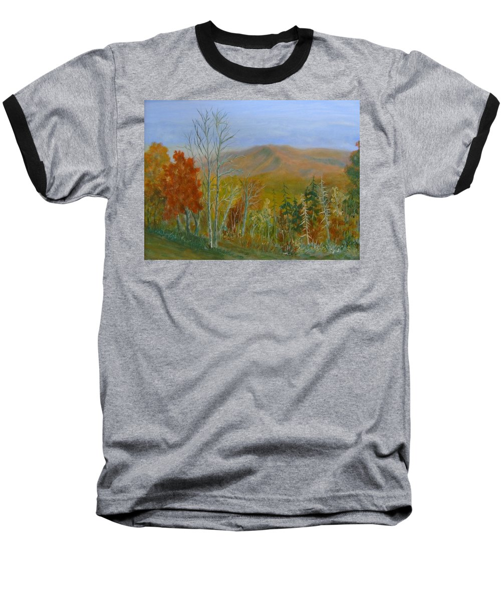 Mountains; Trees; Fall Colors Baseball T-Shirt featuring the painting The Parkway View by Ben Kiger