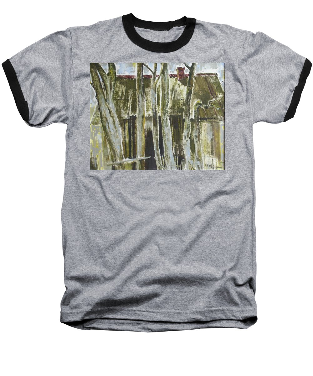 Oil Baseball T-Shirt featuring the painting The Past Space by Sergey Ignatenko