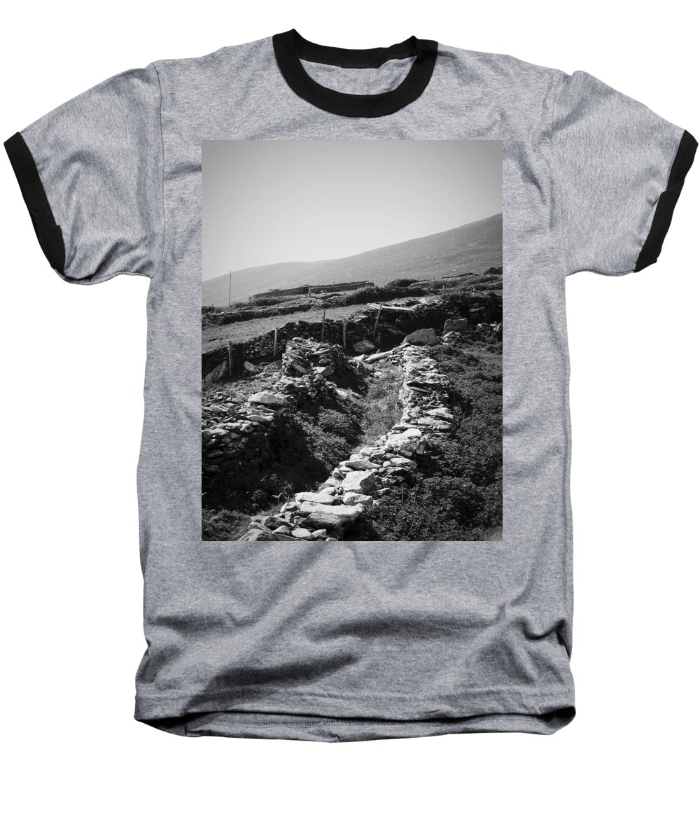 Irish Baseball T-Shirt featuring the photograph The Path To The Beehive Huts In Fahan Ireland by Teresa Mucha