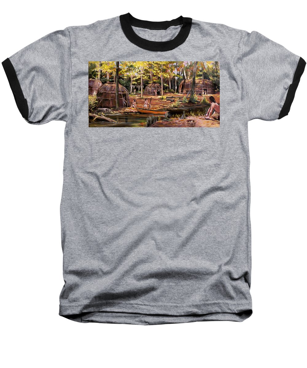 Institute Of American Indian Baseball T-Shirt featuring the painting The Pequots by Nancy Griswold