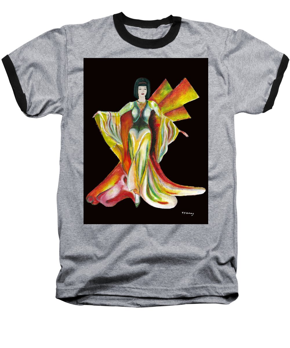 Dresses Baseball T-Shirt featuring the painting The Phoenix 2 by Tom Conway