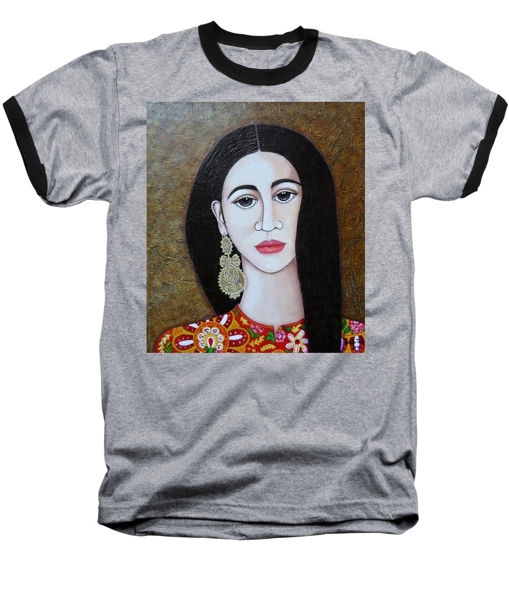 Woman Baseball T-Shirt featuring the painting The Portuguese Earring 2 by Madalena Lobao-Tello