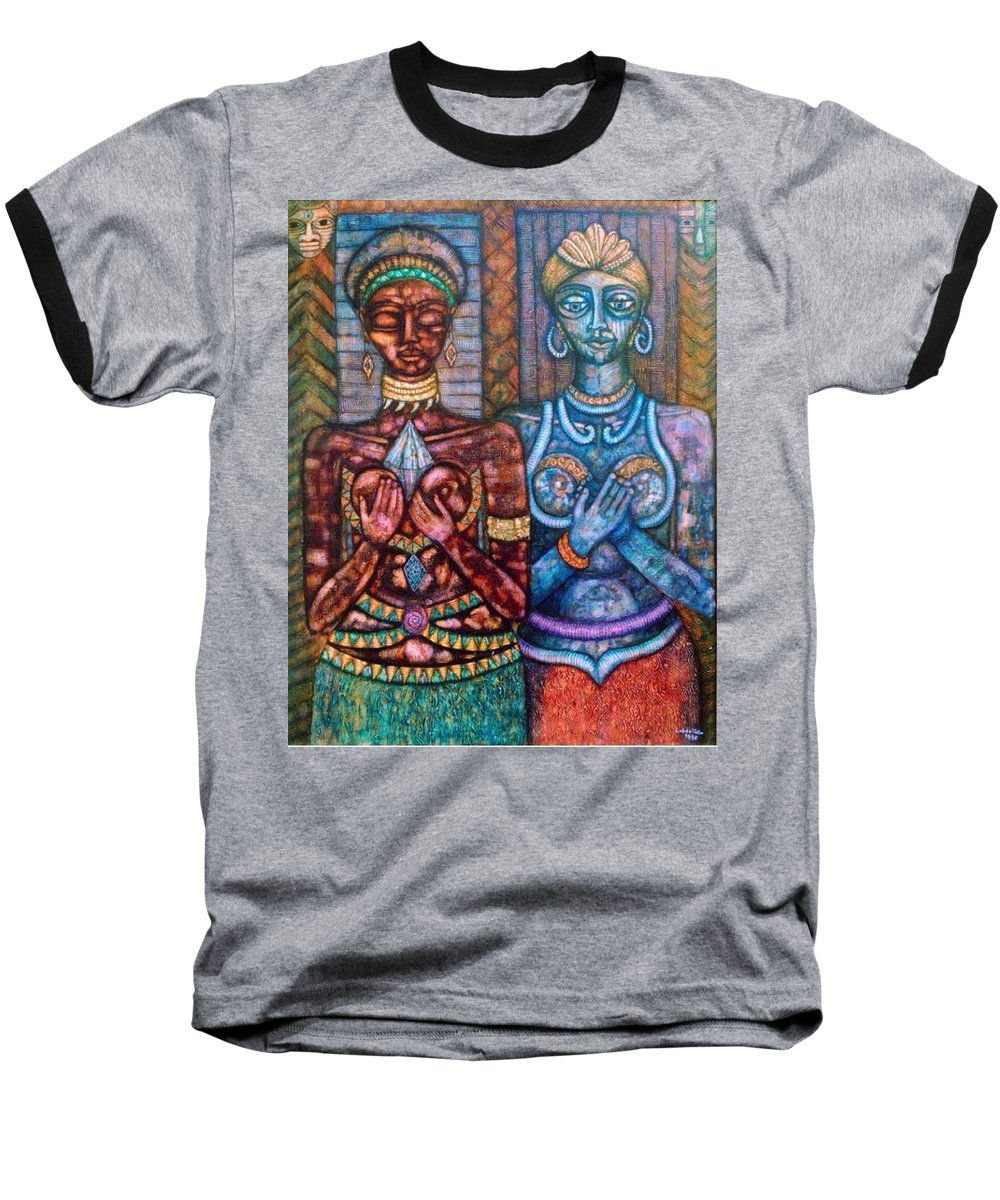 Priestesses Baseball T-Shirt featuring the painting The Priestess Of The Occult by Madalena Lobao-Tello