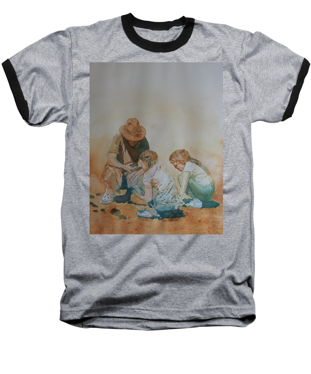 Fathers Baseball T-Shirt featuring the painting The Pumice Seekers by Jenny Armitage