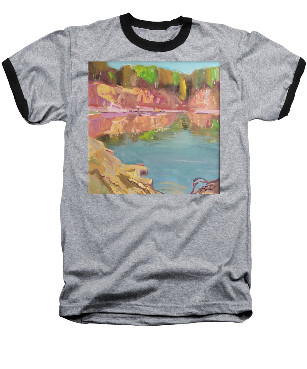Oil Baseball T-Shirt featuring the painting The Quarry by Sergey Ignatenko