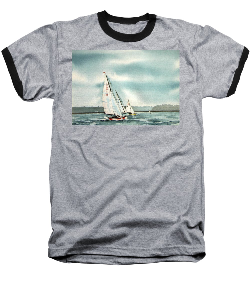 Sailing Baseball T-Shirt featuring the painting The Race by Gale Cochran-Smith