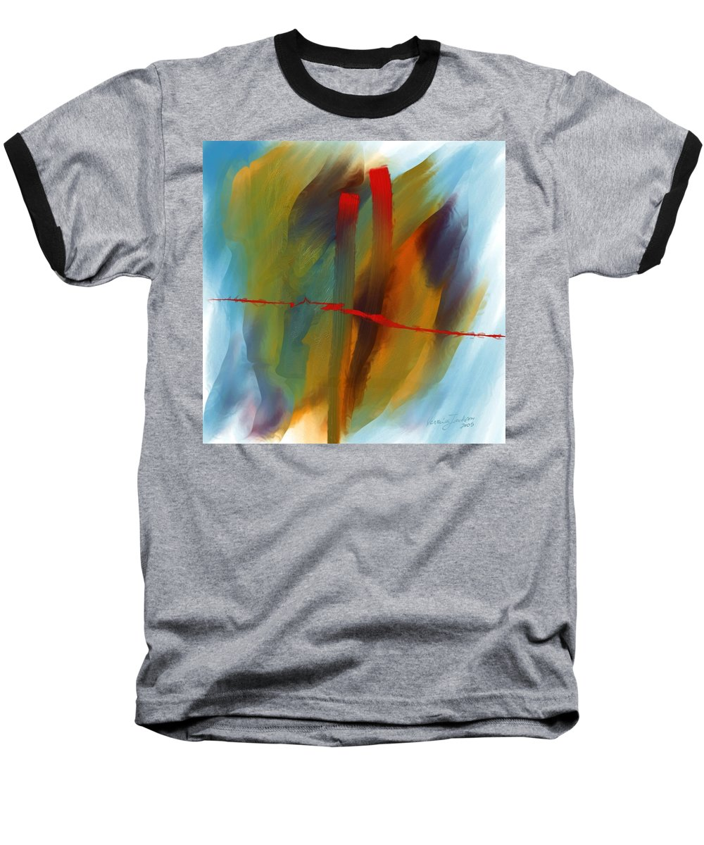 Red Abstract Lines Soft Moves Air Water Baseball T-Shirt featuring the digital art The Red Line by Veronica Jackson