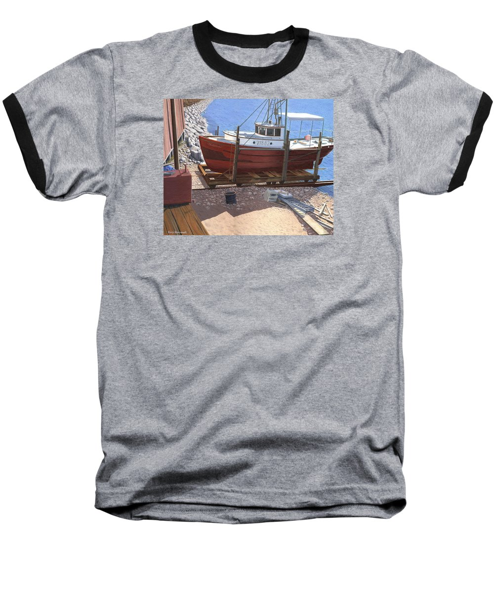 Fishing Boat Baseball T-Shirt featuring the painting The Red Troller by Gary Giacomelli