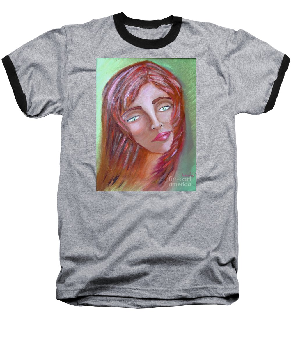 Redheads Baseball T-Shirt featuring the painting The Redhead by Laurie Morgan