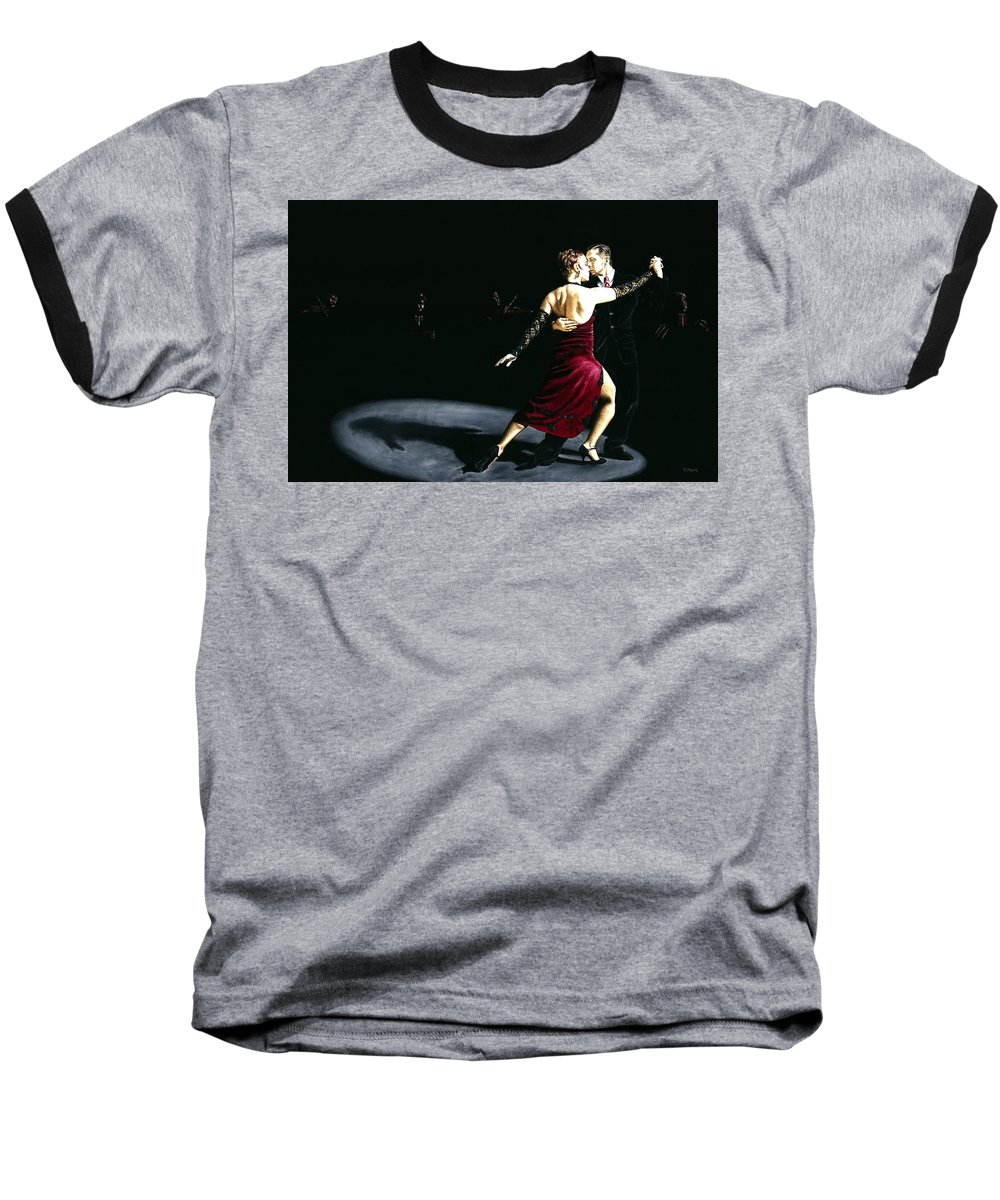 Tango Baseball T-Shirt featuring the painting The Rhythm Of Tango by Richard Young