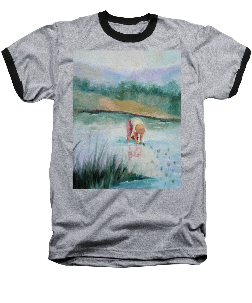 Figurative Baseball T-Shirt featuring the painting The Rice Planter by Ginger Concepcion