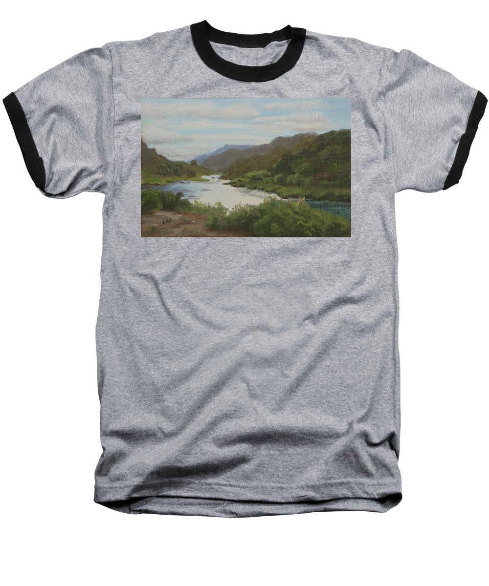Landscape Baseball T-Shirt featuring the painting The Rio Grande Between Taos And Santa Fe by Lea Novak