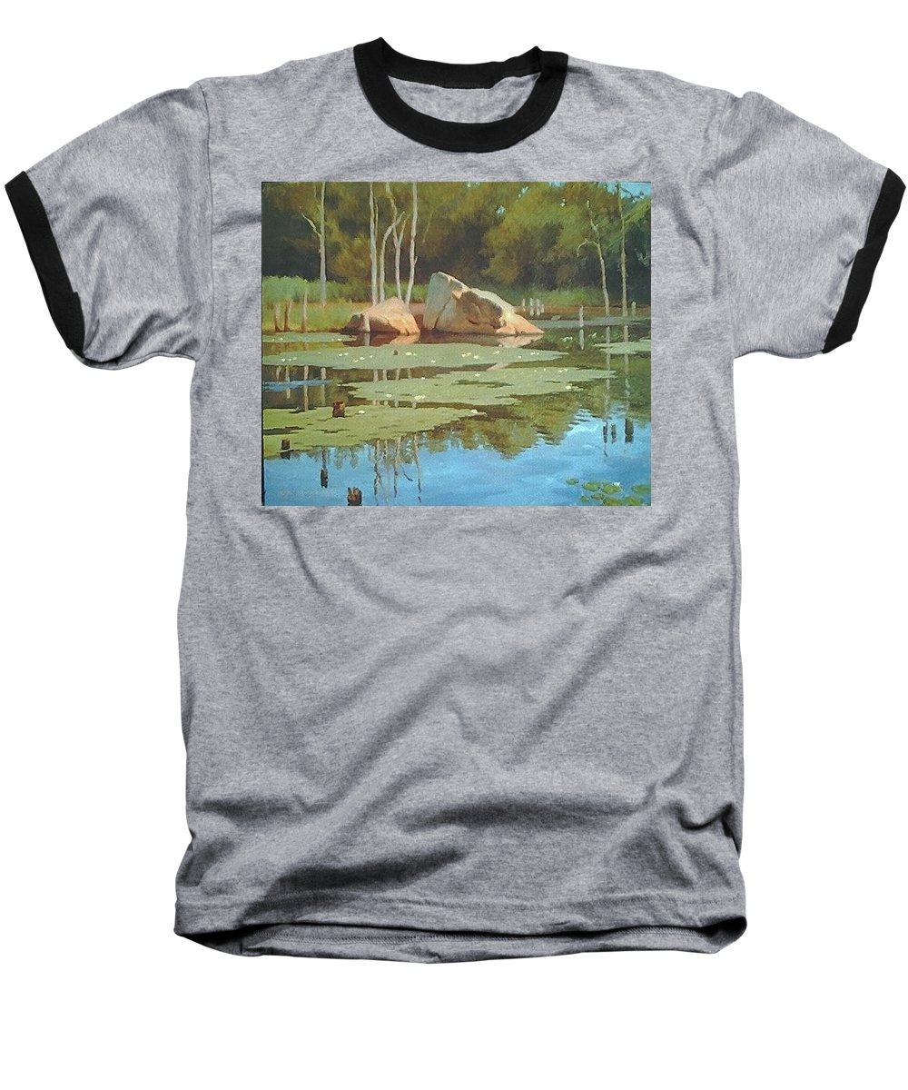 Landscape Baseball T-Shirt featuring the painting The Rock by Dianne Panarelli Miller
