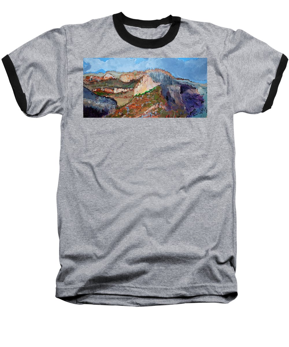 Mountains Baseball T-Shirt featuring the painting The Rockies by Kurt Hausmann