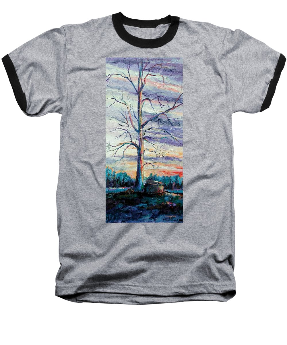 Lone Tree Baseball T-Shirt featuring the painting The Sentinel by Ginger Concepcion
