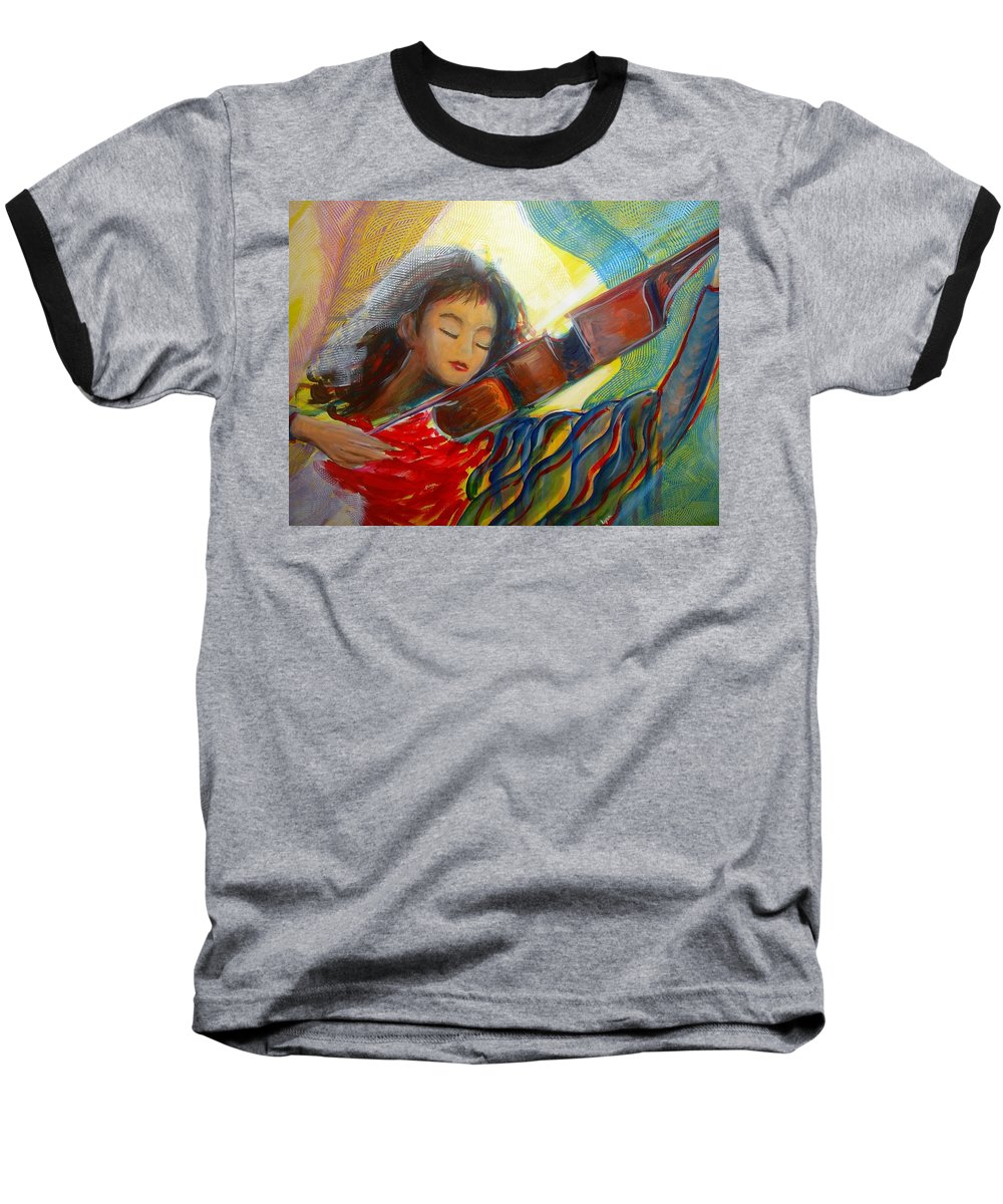 Violin Baseball T-Shirt featuring the painting The Sweetest Sounds by Regina Walsh
