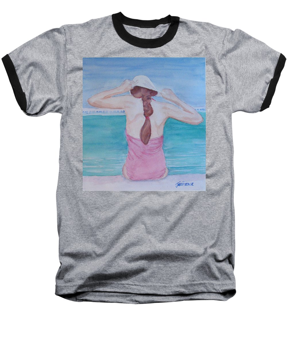 Girl Baseball T-Shirt featuring the painting The Swim Cap by Jenny Armitage