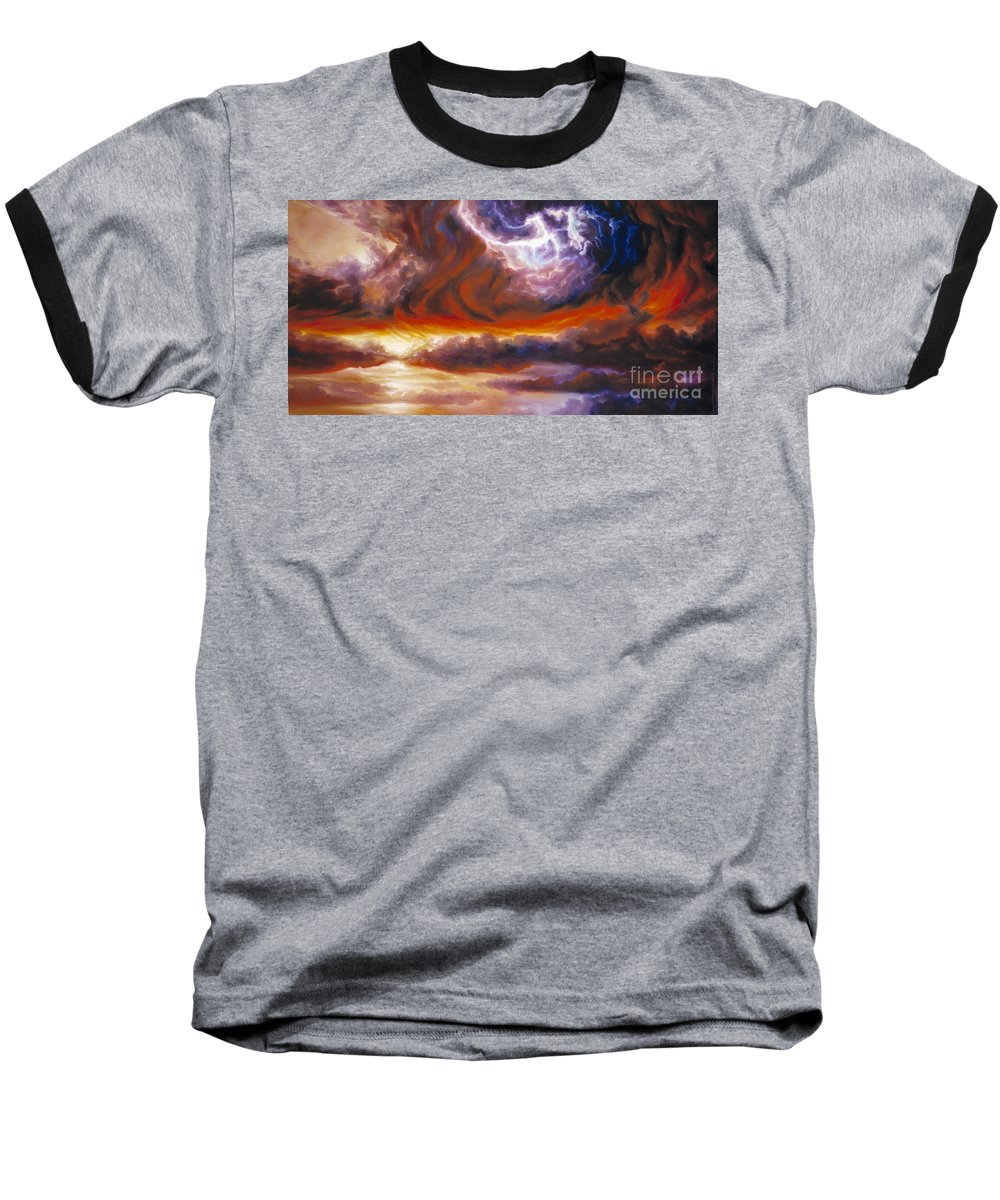Tempest Baseball T-Shirt featuring the painting The Tempest by James Christopher Hill