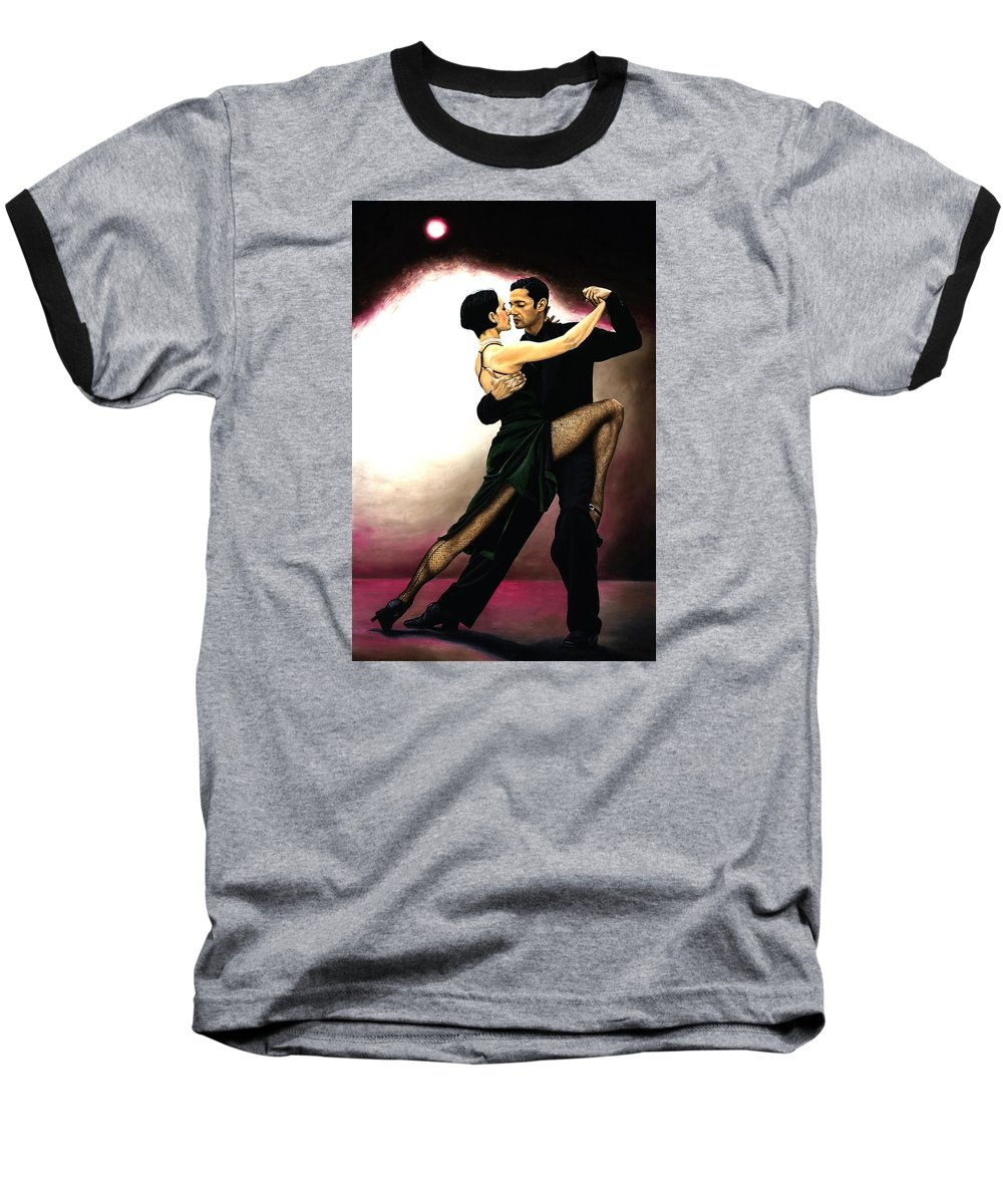 Tango Baseball T-Shirt featuring the painting The Temptation Of Tango by Richard Young