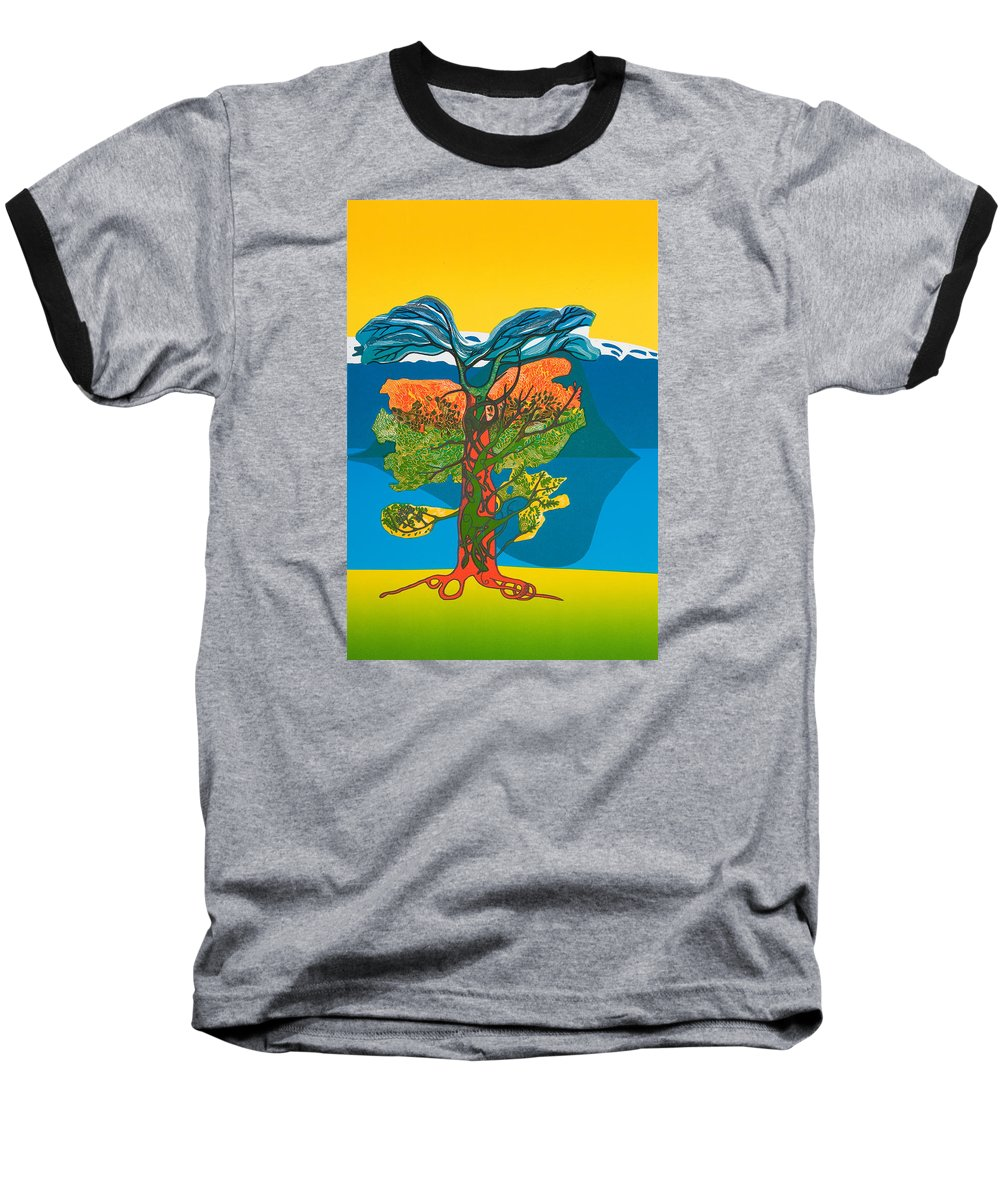 Landscape Baseball T-Shirt featuring the mixed media The Tree Of Life. From The Viking Saga. by Jarle Rosseland