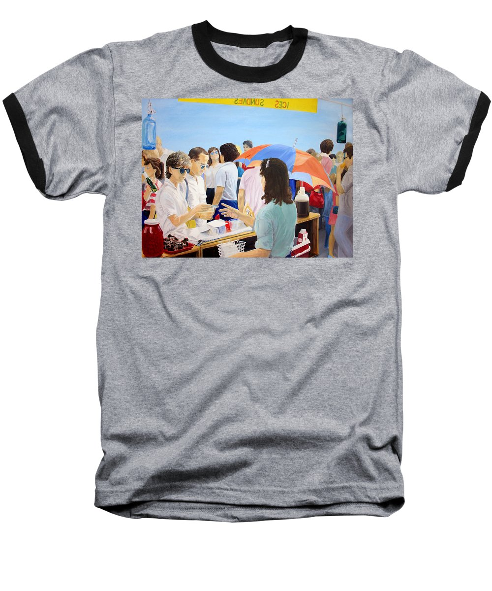 People Baseball T-Shirt featuring the painting The Vendor by Steve Karol