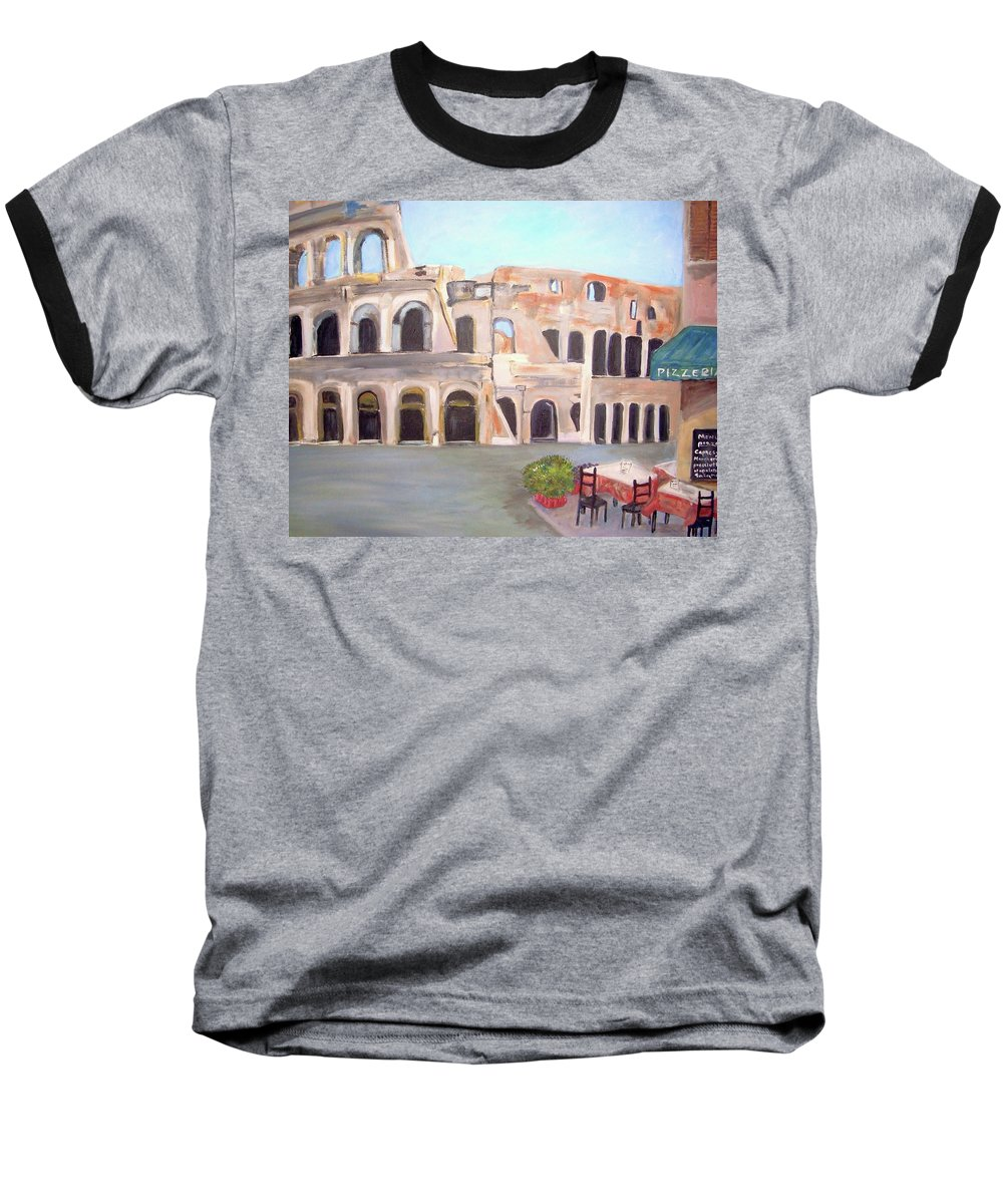 Cityscape Baseball T-Shirt featuring the painting The View Of The Coliseum In Rome by Teresa Dominici