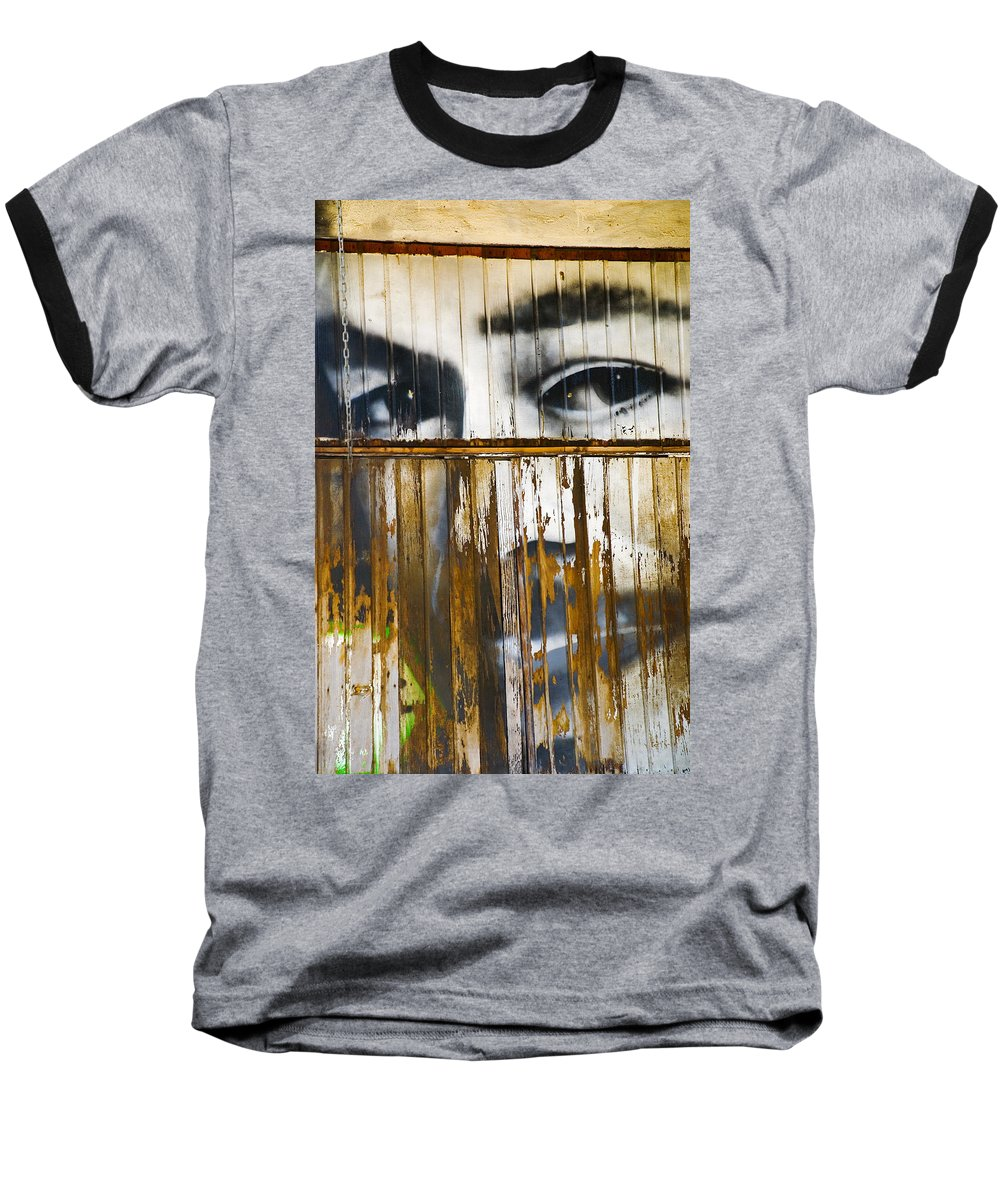 Escondido Baseball T-Shirt featuring the photograph The Walls Have Eyes by Skip Hunt