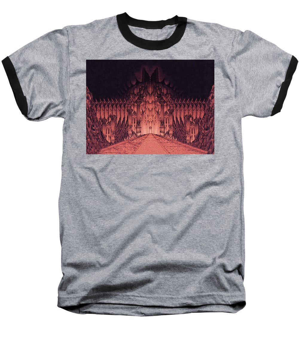 Barad Dur Baseball T-Shirt featuring the drawing The Walls Of Barad Dur by Curtiss Shaffer