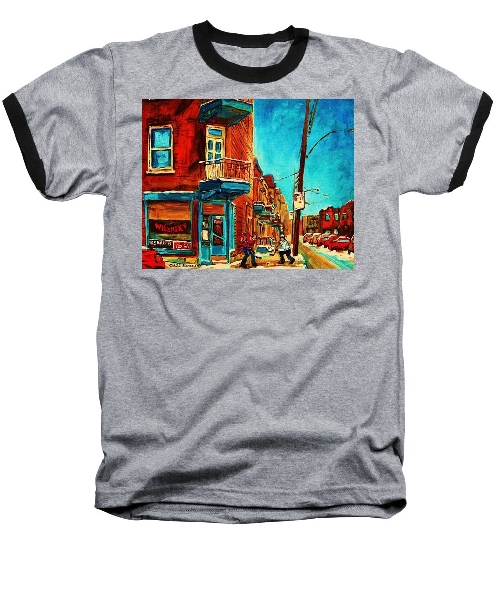 Wilenskys Doorway Baseball T-Shirt featuring the painting The Wilensky Doorway by Carole Spandau
